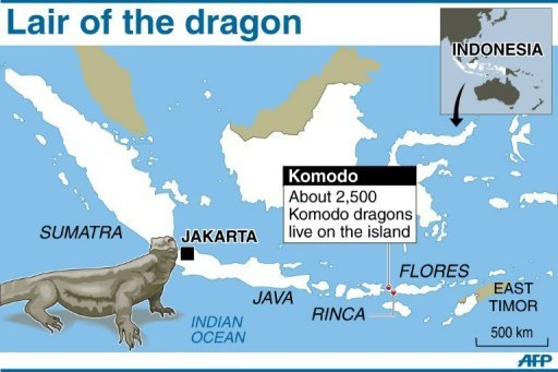 Komodo dragon habitat map