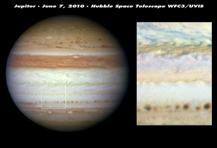 Hubble scrutinizes site of mysterious flash and missing cloud belt on Jupiter