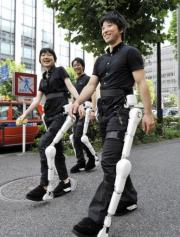 Hybrid Assistive Limb (HAL) works like an exoskeleton and amplifies the muscle power of its wearer's legs