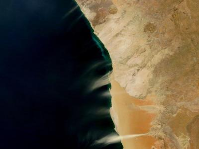 Hydrogen Sulfide and Dust Plumes on Namibia's Coast