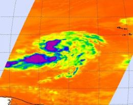Infrared NASA image shows strong convection in new Atlantic Depression 9