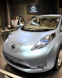 Japanese auto company Nissan Motor displays the company's Leaf electric vehicle