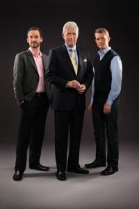 L-R: Contestant Brad Rutter, Jeopardy host Alex Trebek and contestant Ken Jennings
