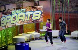 Microsoft employee's demonstrate a new game that utilizes the Kinect for the new Xbox 360 console