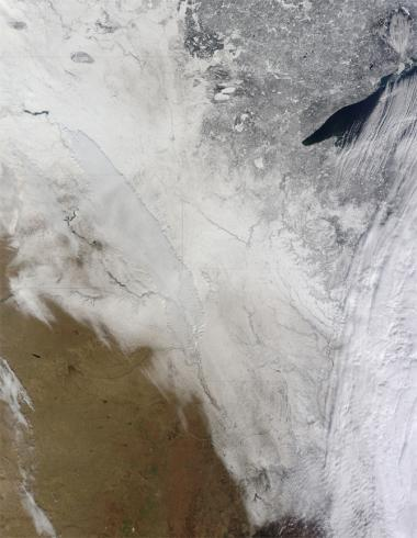 Minnesota blizzard caught by Terra satellite
