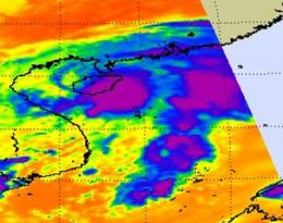 NASA AIRS Satellite instrument sees Tropical Depression 14W form