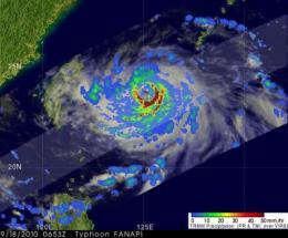 NASA captures very heavy rain in Typhoon Fanapi and 2 landfalls