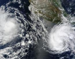 NASA's Aqua and Terra satellites view Tropical Storms Blas and Celia