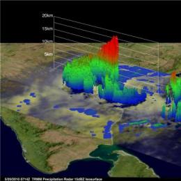 NASA sees one of Cyclone Laila's thunderstorms almost 11 miles high