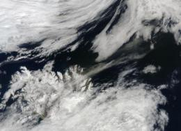 NASA's Terra sees ash plume pulled to the northeast by a low