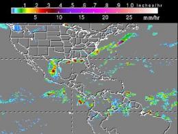 NASA TRMM satellite data show areas of Alex's heavy rainfall