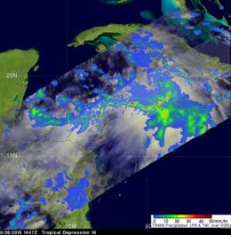 NASA uses 3 satellites to see strengthening Tropical Storm Nicole