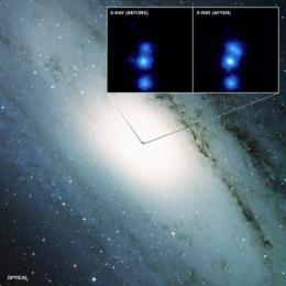 Nearby black hole is feeble and unpredictable