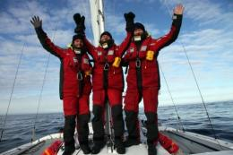 Norway's explorer Boerge Ousland (R), Norway's navigator Thorleif Thorleifsson (C) and Vincent Colliard of France (L)