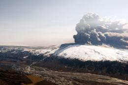 Smoke and ash billow from the Eyjafjallajokull volcano during an eruption