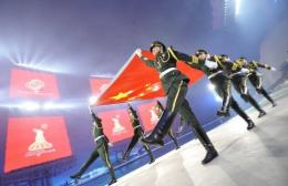 Soldiers from the People's Liberation Army participate in the opening ceremony for the Asian Games