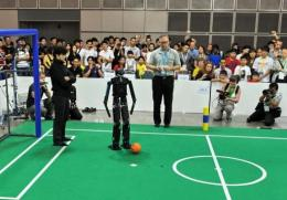 Spectators watch the RoboCup 2010