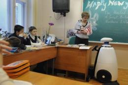 Stepan, a plastic robot, attends a lesson at Moscow's school number 166