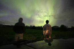 Swedes watch a display of Aurora Borealis