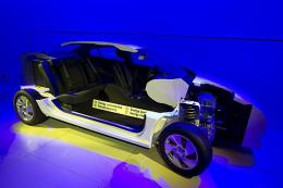 The model of an electric car is displayed at the facilities of Better Place
