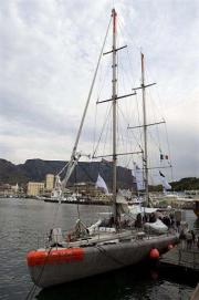 The schooner Tara is moored in the harbour in Cape Town