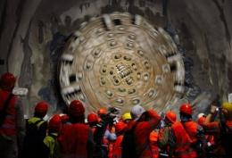 The seven billion euro tunnel is expected to slash journey times between Milan and Zurich