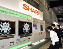 Visitors examine Sharp's latest LCD panels at a flat panel display exhibition in Yokohama